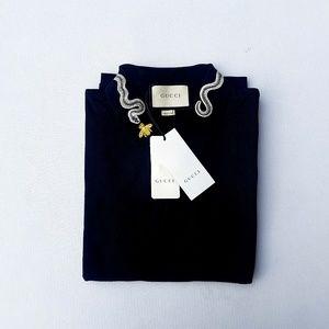 Gucci Bee and Snake Black Short Sleeve Polo Shirt